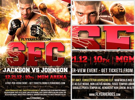 ufc poster template free mma fight flyer template flyerheroes