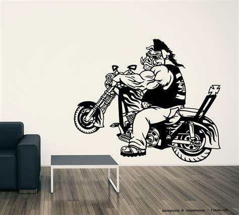 Cross Motorrad Wandtattoo by Wandaufkleber Rocker Schwein Biker Kreuz Cross Sunnywall