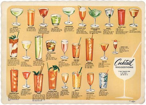 cocktail recipes poster retro cocktails ideas for the 1940 s ww2 theme