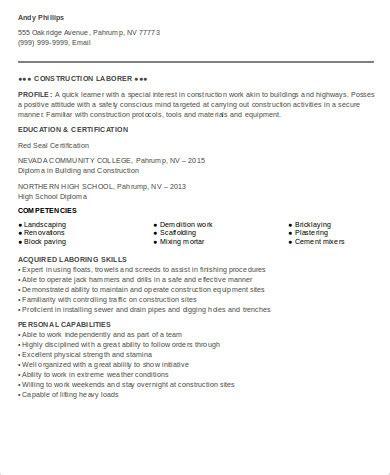 entry level construction worker resume sle sle construction worker resume 9 exles in word pdf