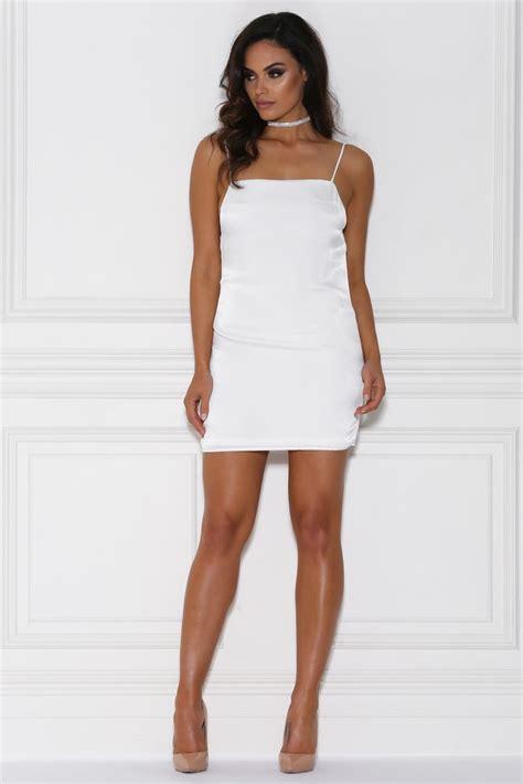 Mini Dress White Import fira satin mini dress white