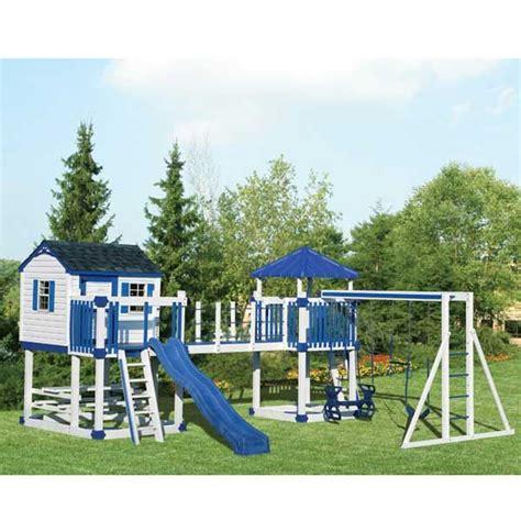 pvc swing sets c5 white blue jpg swing kingdom vinyl swing set c5