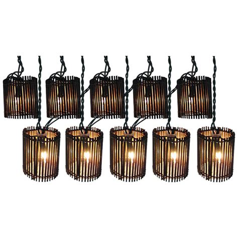 Patio String Lights Clearance Shop Allen Roth 7 8 Ft Brown Mini Bulb Rattan Patio String Lights At Lowes