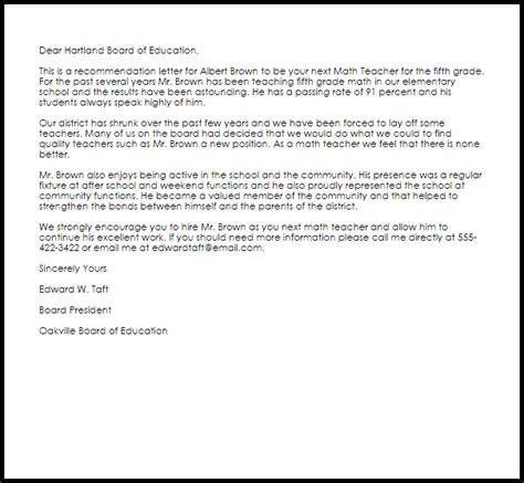 Math Teacher Recommendation Letter   LiveCareer