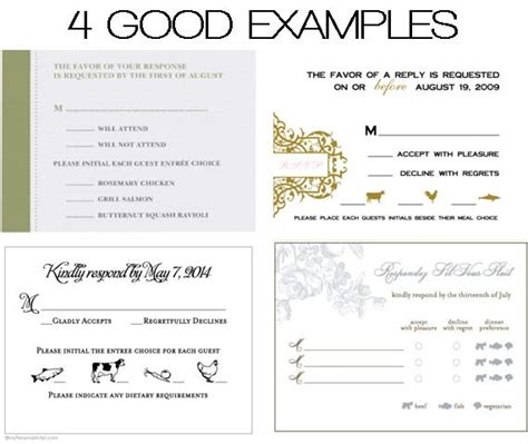 Dinner Response Card Template by Weddings 101 Radisson Paper Valley Hotel