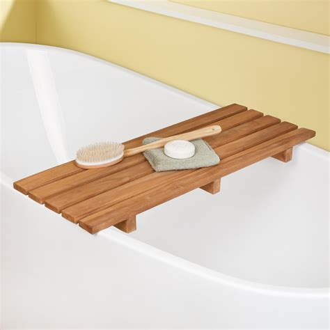teak bathtub shelf bathroom