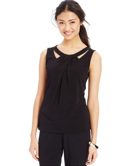 Cutout Sleeveless Top nine west sleeveless cutout twist front top in black