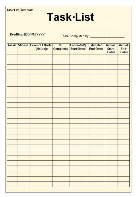 microsoft word task list template 12 task list templates word excel pdf formats