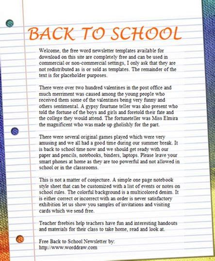 15 Free Microsoft Word Newsletter Templates For Teachers School Xdesigns Word 2013 Newsletter Templates