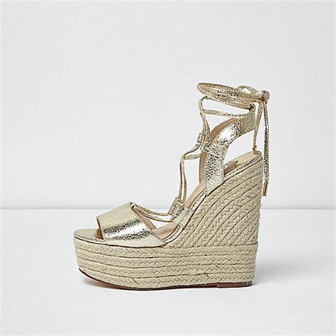 gold wide fit sandals gold wide fit tie espadrille platform wedges sandals