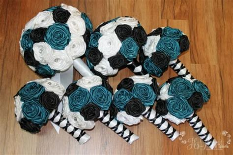 custom made teal black white fabric bouquet package
