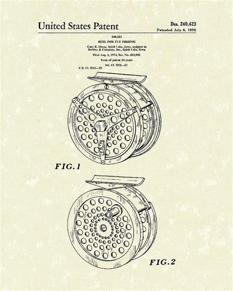 layout artist reel fly fishing reel 1976 patent art drawing by prior art design