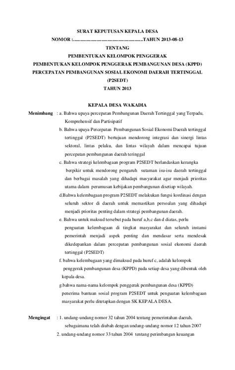surat keputusan kepala desa
