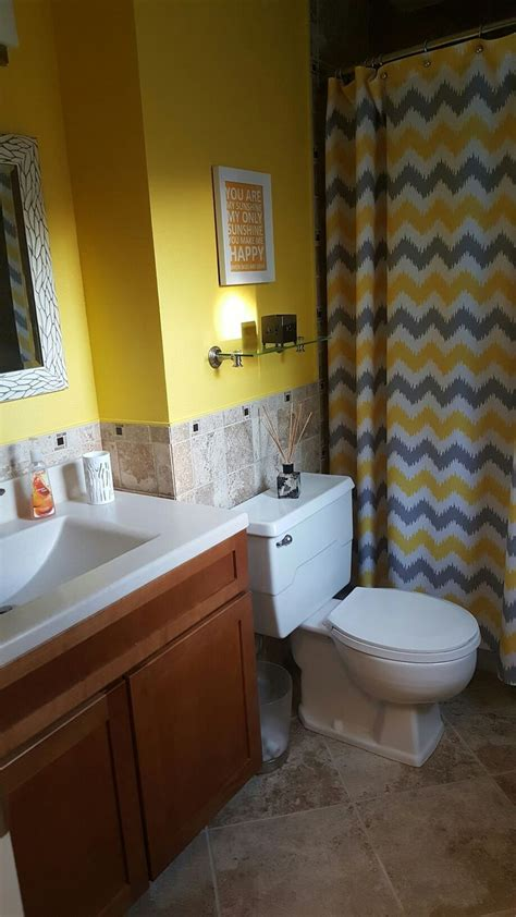 yellow  gray bathroom bathroom ideas pinterest