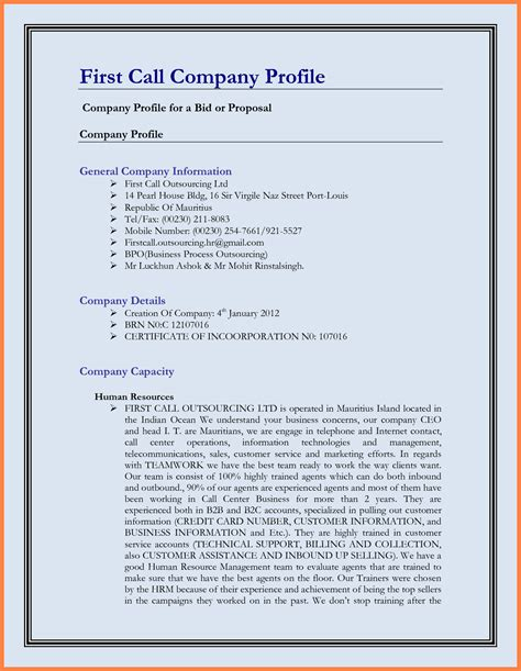 business template doc 6 sle company profile doc company letterhead