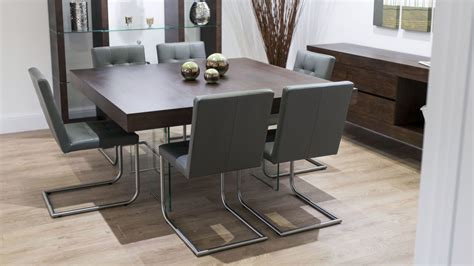 Grey Dining Table Chairs Modern Square Wood Dining Set Glass Legs Real Leather Chairs