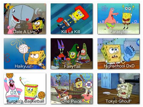 anime live chart com spongebob anime comparison chart 1 by snitchpogi12 on