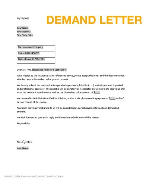 Diminished Value Claim Letter Articleezinedirectory Insurance Demand Letter Template
