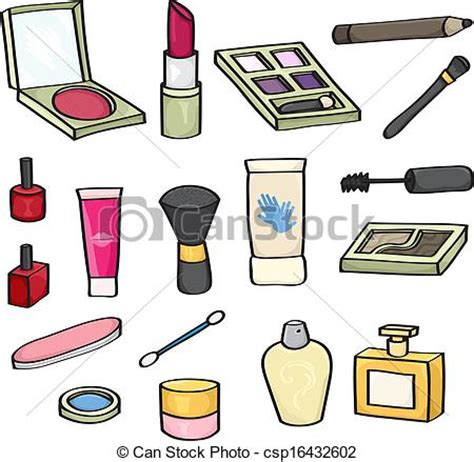 Stock Illustration Of Set Of Vector Clipart Of Cosmetics Set Set Of 18 Cosmetics For Use Csp16432602