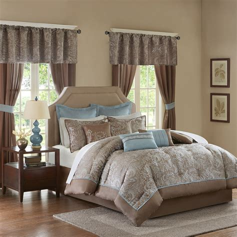 bedding sheets comforters more to 24pc blue brown paisley comforter set sheets pillows
