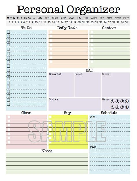 daily organizer template personal organizer editable daily planner weekly planner