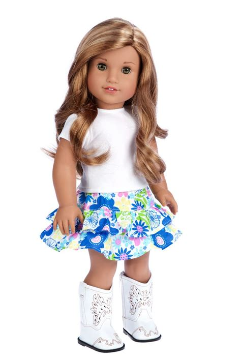 Happy Doll With Phone Blue feeling happy doll clothes for 18 inch american doll skirt vest t shirt