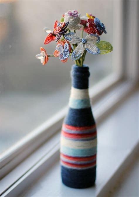 diy yarn wrapped bottle vase   decorate  bottle vase decorating  cut