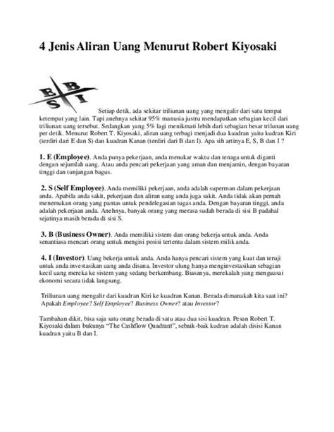 Doc 4 Jenis Aliran Uang Menurut Robert Kiyosaki Antoni