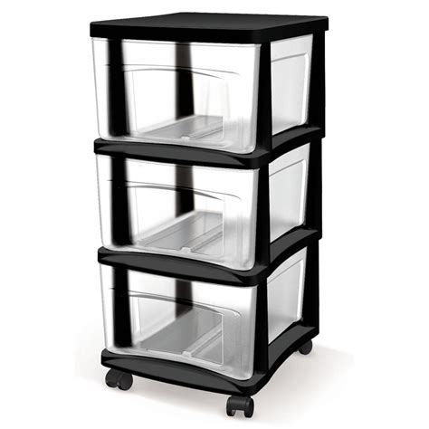 shop style selections 14 5 in x 26 in 3 drawer black clear