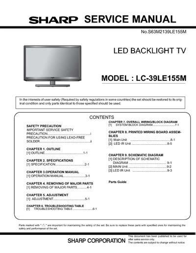 Led Sharp Lc 39le155m sharp lc 39le155m service manual repair schematics