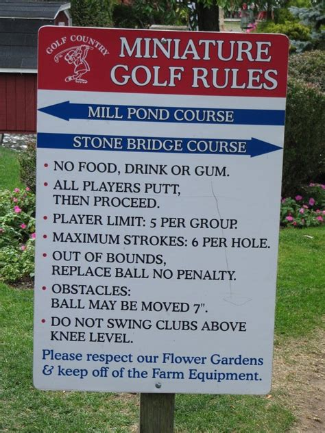 mini golf rules  yelp