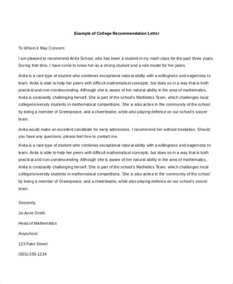 Reference Letter College Exle Letters Of Recommendation