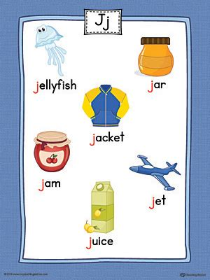 color starts with j letter j word list with illustrations printable poster