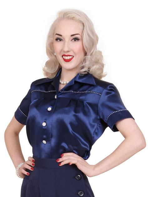 Jojo Blouse jojo blouse navy crepe satin from vivien of holloway