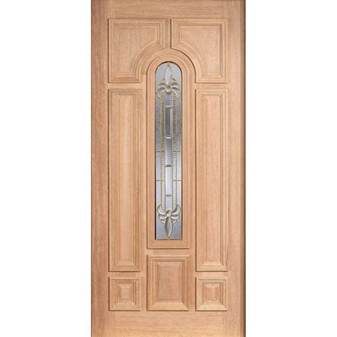 Glass Front Doors Home Depot Door 36 In X 80 In Mahogany Type Unfinished Beveled Brass Arch Glass Solid Wood Front
