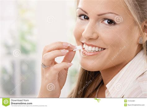 eats gum beautiful chewing gum stock image image 11412461