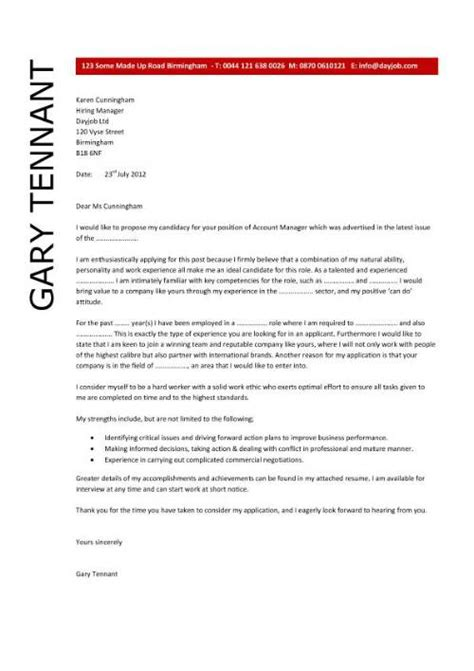 cover letter account manager account manager cv template sle description