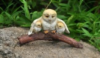 fairy garden miniature owl mom with her baby owls my fairy gardens