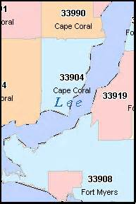 cape coral florida fl zip code map downloads