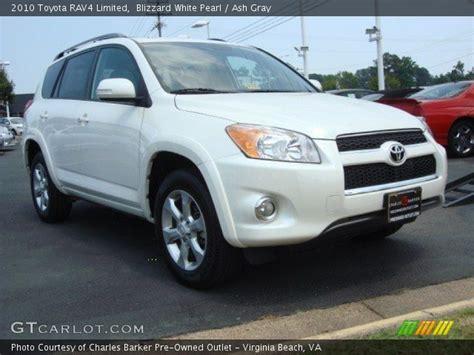 Toyota Rav4 2010 White Blizzard White Pearl 2010 Toyota Rav4 Limited Ash Gray