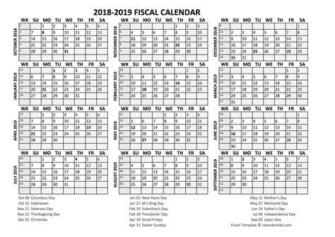 fiscal calendar fiscal calendar 2018 19 templates free printable templates