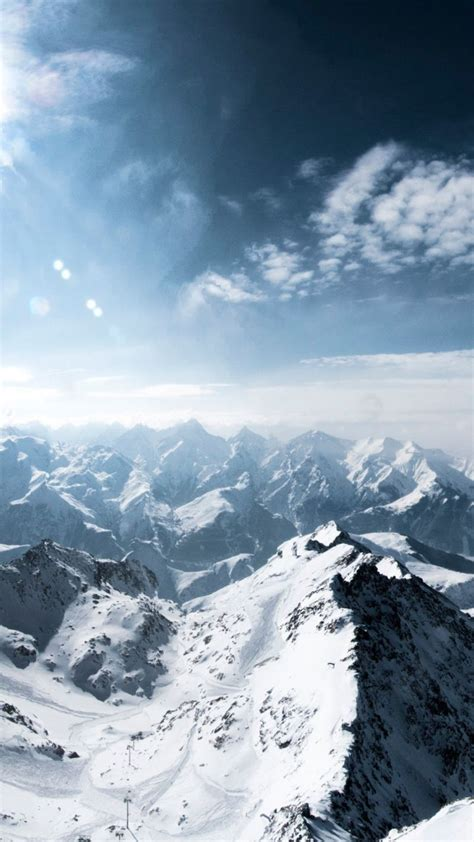 mountains french alps winter snow sunny day