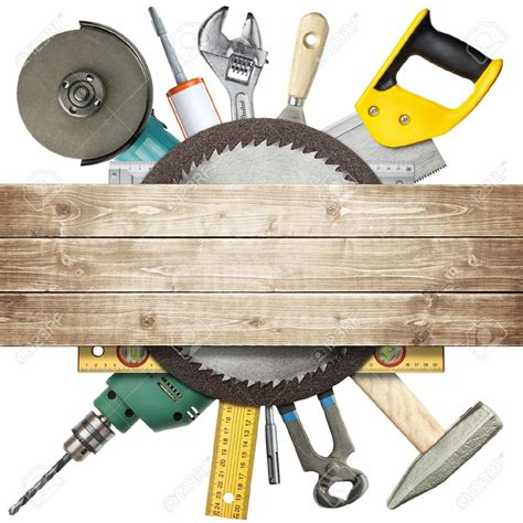 woodworking contractor carpentry construction hardware tools collage stock photo