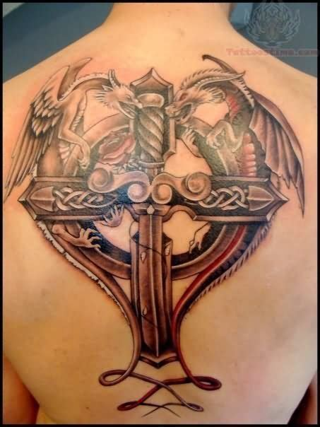 dragon cross tattoo designs and cross on back