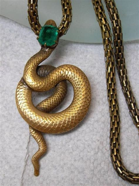 Snakes On A Ring Snakes On A Necklace Snakes By Sydney Evan by Vintage Joseff Of Green Jeweled Snake Serpent