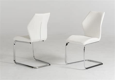 modern white dining chairs welles modern white leatherette dining chair set of 2