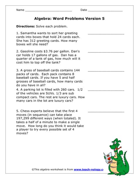 algebra based word problems version 5