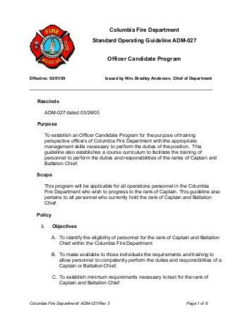 operational guidelines template standard operating guideline iaff
