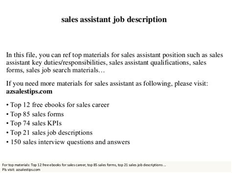 retail assistant duties sales assistant