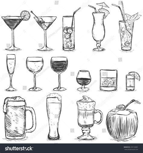 cocktail sketch vector set sketch cocktails alcohol drinks stock vector